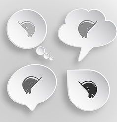 Hard hat white flat buttons on gray background vector