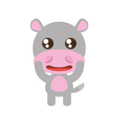 Kawaii hippo animal toy vector