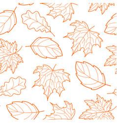 Leaves seamless outline orange vector