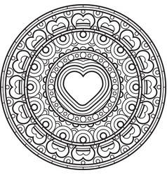 mandala with heart decorative round ornament vector image vector image