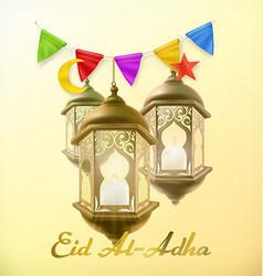 Muslim holiday Eid Al-Adha Greeting card with lamp vector image vector image