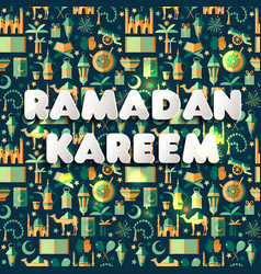 Ramadan kareem icons set of arabianseamless vector