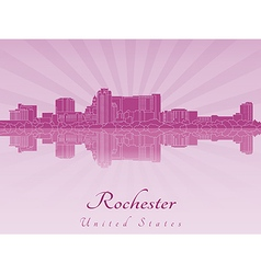 Rochester skyline in purple radiant orchid vector