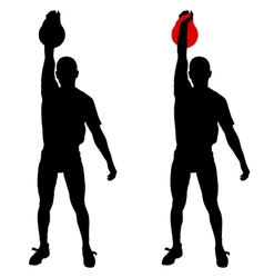 Silhouette muscular man holding kettle bell vector image