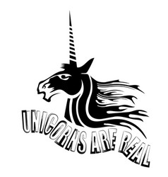silhouette of magic cute unicorn and lettering vector image