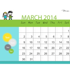 Simple 2014 calendar March vector image vector image