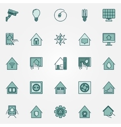 Smart home colorful icons set vector