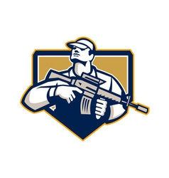 Soldier military serviceman assault rifle retro vector