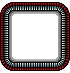 Steel techno round corner frame with shadow vector