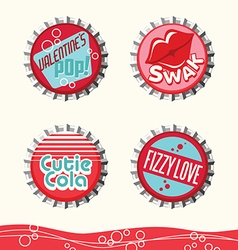 valentine bottle caps 1 vector image vector image
