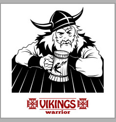 Viking the cheerful viking with beer mug in hand vector