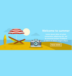 welcome to summer banner horizontal concept vector image vector image