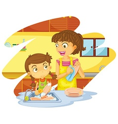 Girl helping mom doing dishes vector