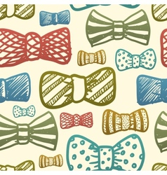 Seamless texture with vintage bows vector image
