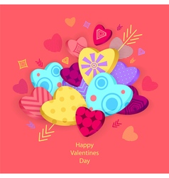 Textured hearts with 3d effect and arrow on pink vector
