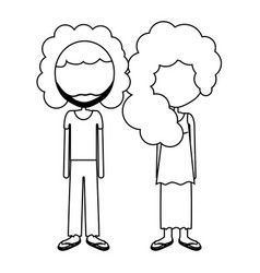 couple with curly hair and casual cloth icon vector image