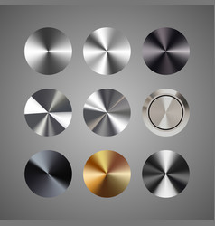 Metal conical gradients button set vector