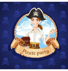 Cute young pirate with treasures  banner for vector