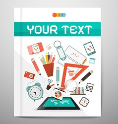 Book - brochure - leaflet layout with school items vector