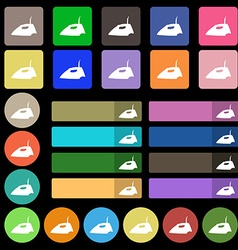 Iron icon sign set from twenty seven multicolored vector