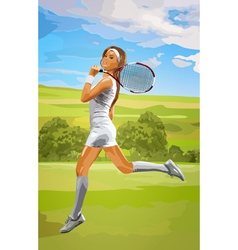 Young tennis player woman vector