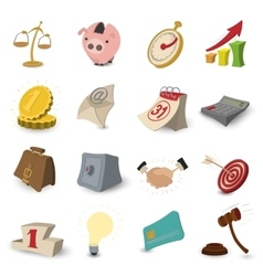 Cartoon business icons vector