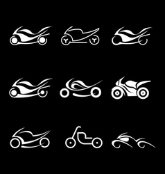 Motorcycles icons vector