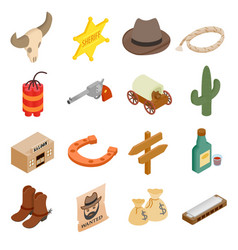 Wild west cowboy isometric 3d icons vector