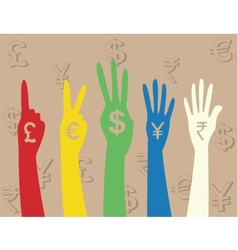 Hand money sign vector