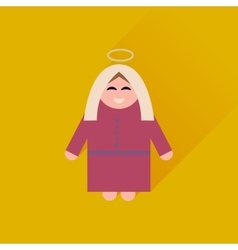 Flat icon with long shadow mother jesus christ vector