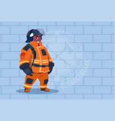 African american fireman wearing uniform and vector