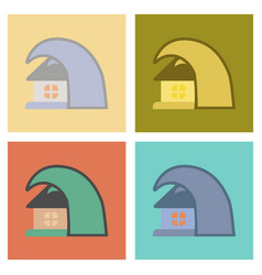 Assembly flat icons nature tsunami house vector
