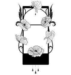 black poppy frame vector image vector image
