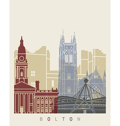 Bolton skyline poster vector image
