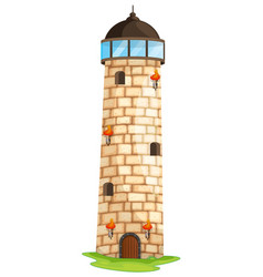 Brick tower with torches and windows vector