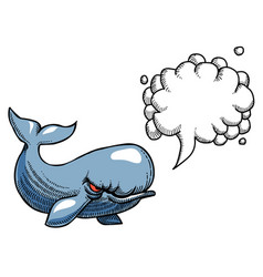 Cartoon image of angry whale vector