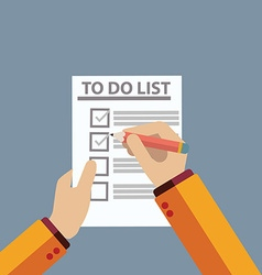 Checking on to do list top view vector