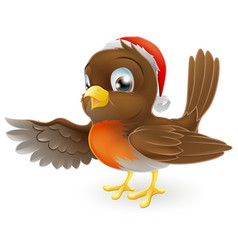 christmas robin bird pointing vector image vector image
