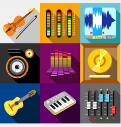 Equalizer icons set flat style vector