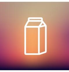 Fresh milk in a box thin line icon vector image