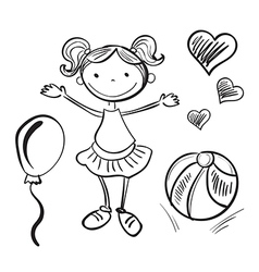 Hand drawn girl with toys vector