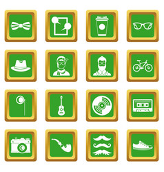 Hipster icons set green vector