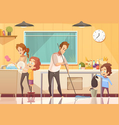 Kids helping cleaning cartoon poster vector