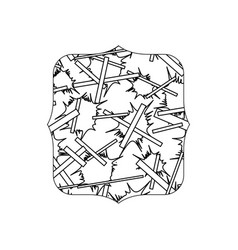 Line quadrate with abstract memphis design vector