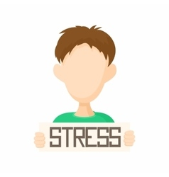 Man holding stress word poster icon cartoon style vector