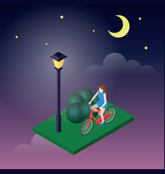 Moonligt night in park female cyclist riding on a vector