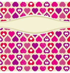 pink valentines background with hearts vector image