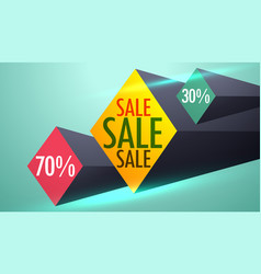 Sale and discount voucher design with 3d shapes vector