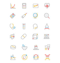 Science colored outline icon 2 vector