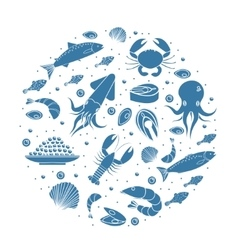 Seafood icons set in round shapesilhouette Sea vector image